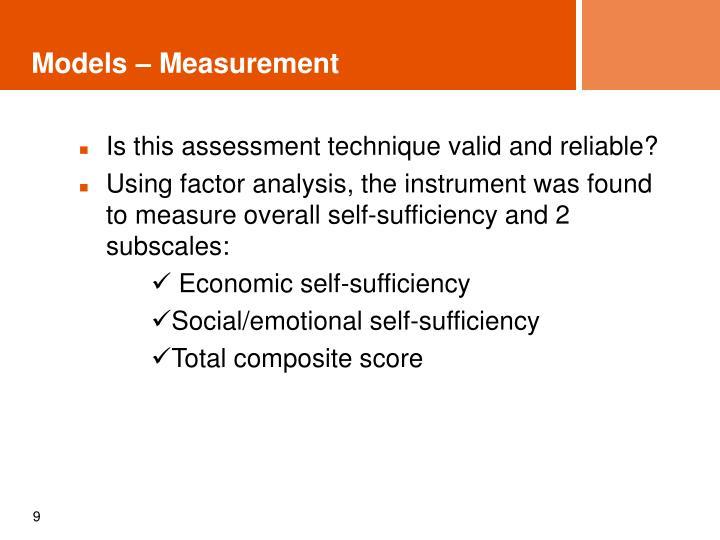 Models – Measurement