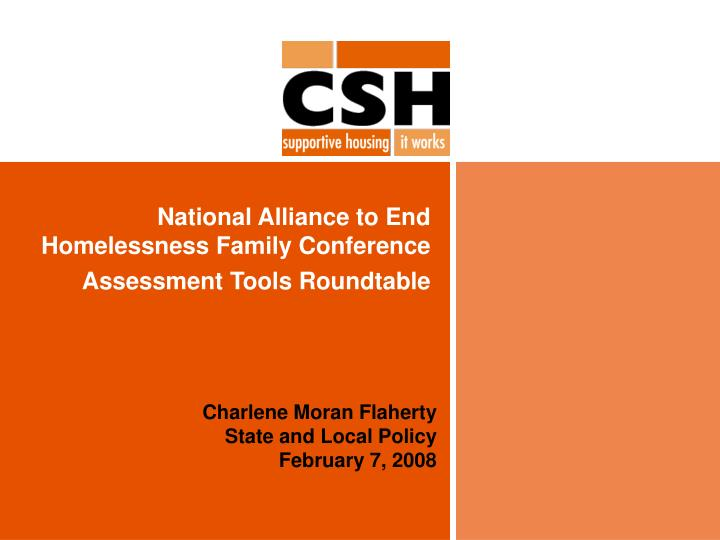 National alliance to end homelessness family conference assessment tools roundtable