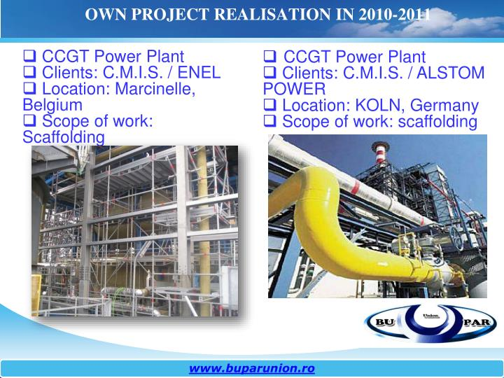OWN PROJECT REALISATION IN 2010