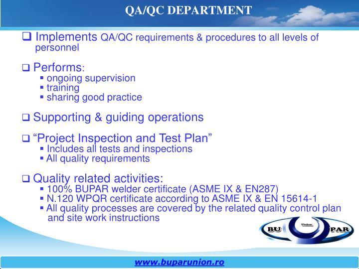 QA/QC DEPARTMENT