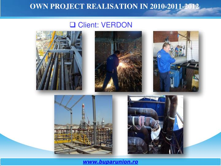 OWN PROJECT REALISATION IN