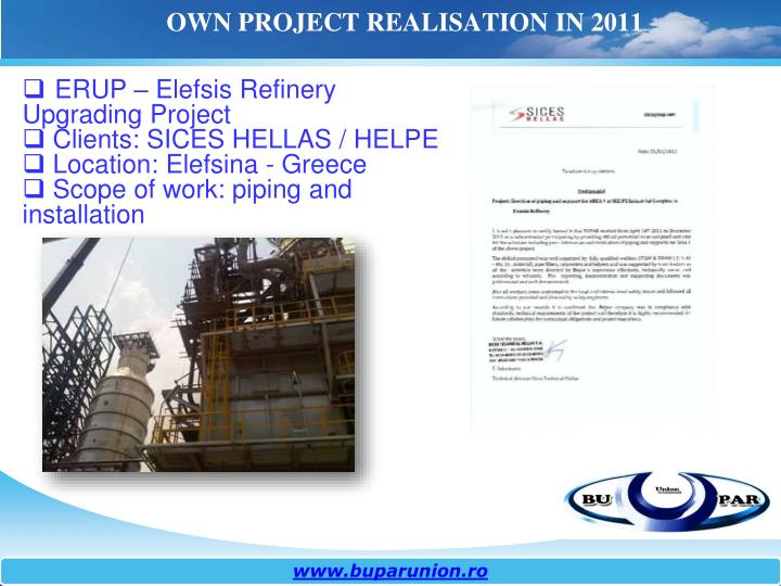 OWN PROJECT REALISATION IN 2011