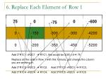 6 replace each element of row 1