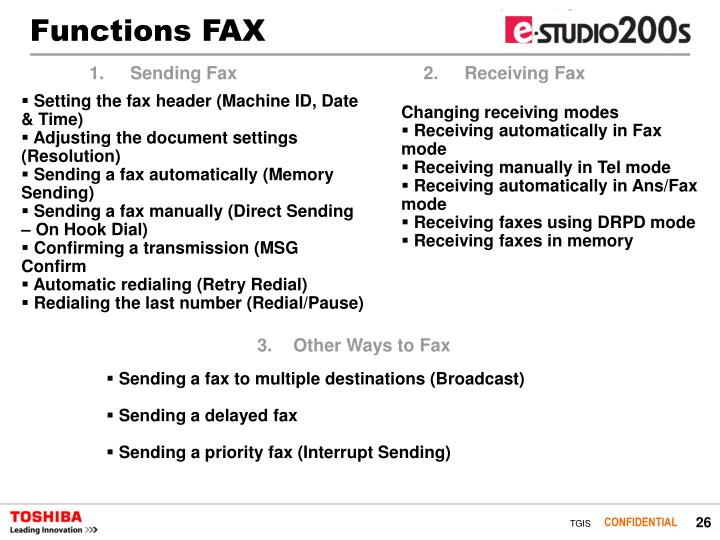 Functions FAX