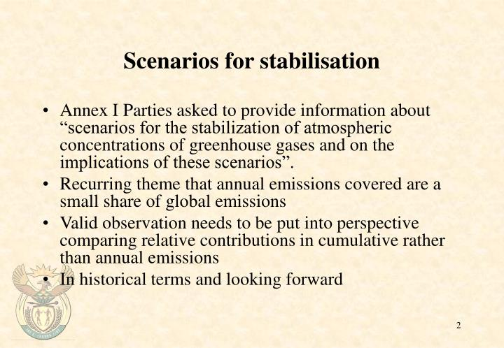 Scenarios for stabilisation