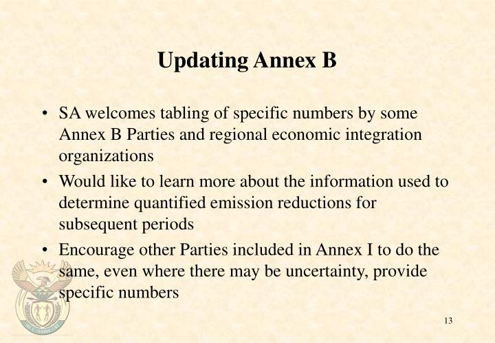 Updating Annex B