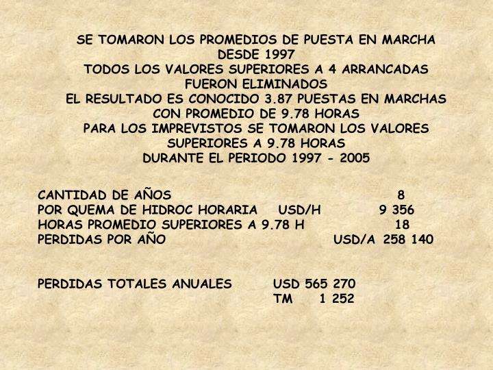 SE TOMARON LOS PROMEDIOS DE PUESTA EN MARCHA DESDE 1997