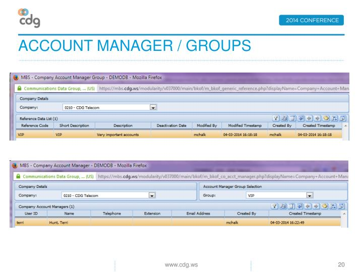 Account manager / groups