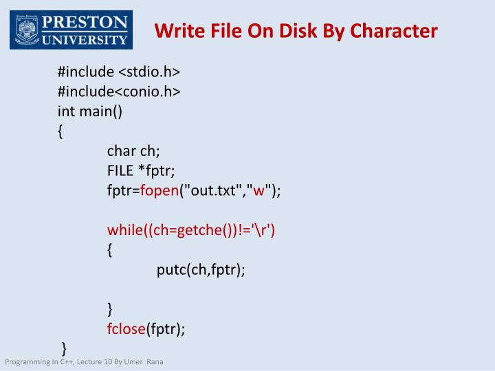 Write File On Disk By Character