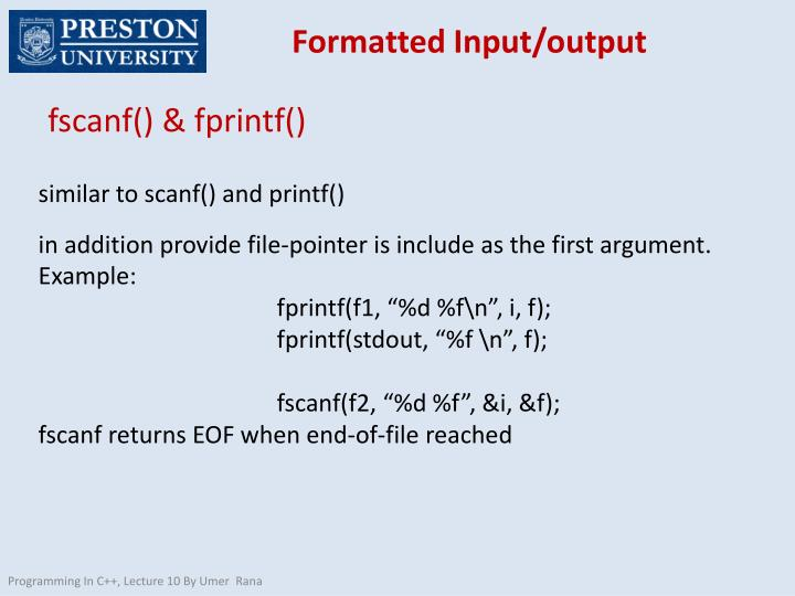 Formatted Input/output