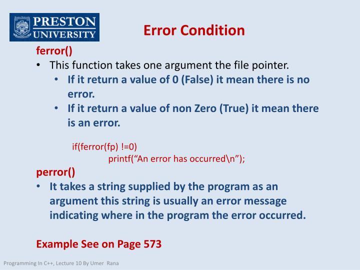 Error Condition