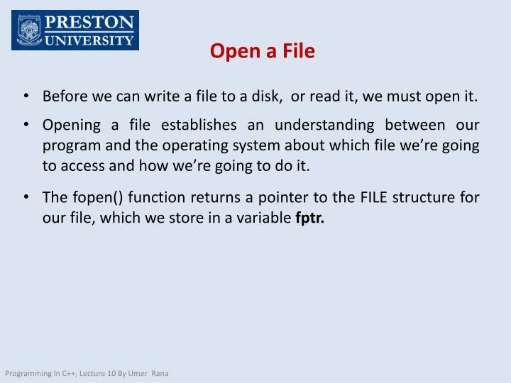 Open a File