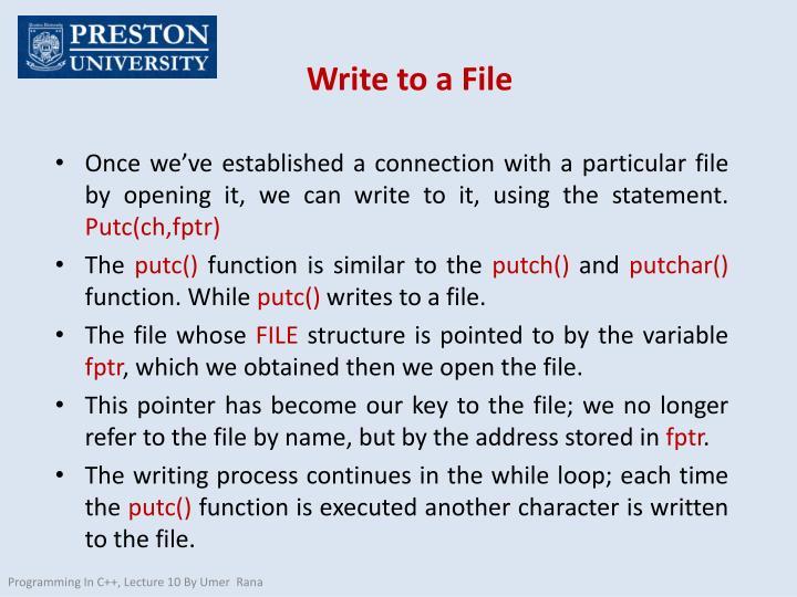 Write to a File