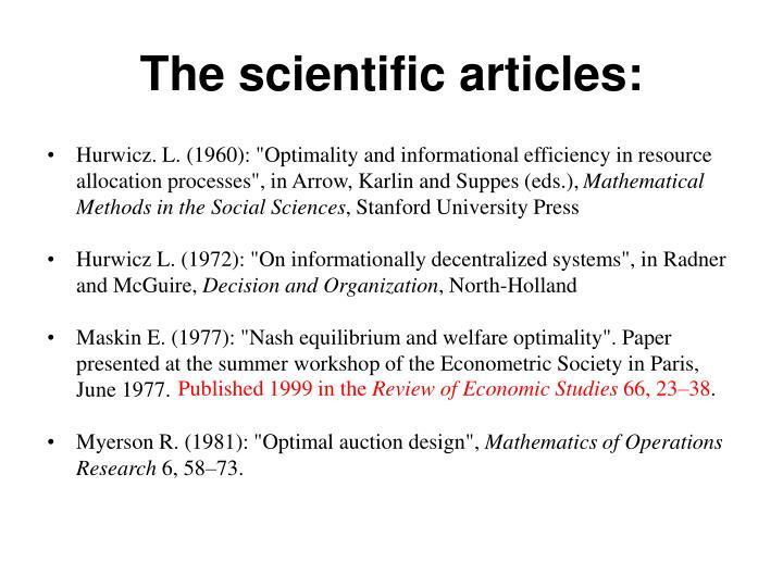 The scientific articles:
