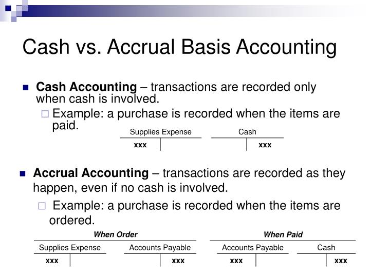 Cash vs. Accrual Basis Accounting