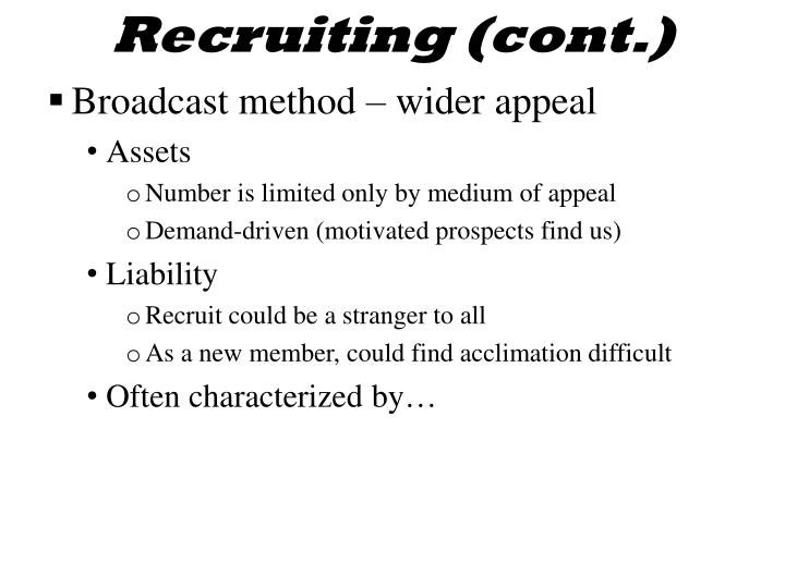 Recruiting (cont.)