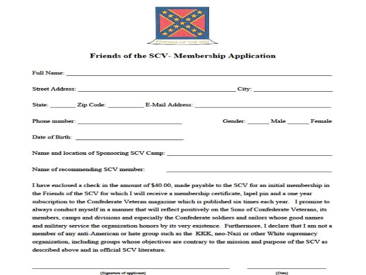 Friends of the SCV- Membership Application