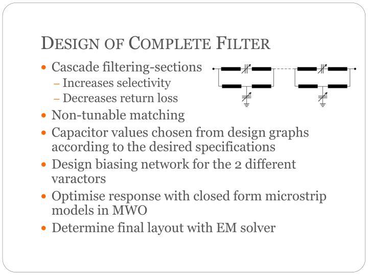 Design of Complete Filter