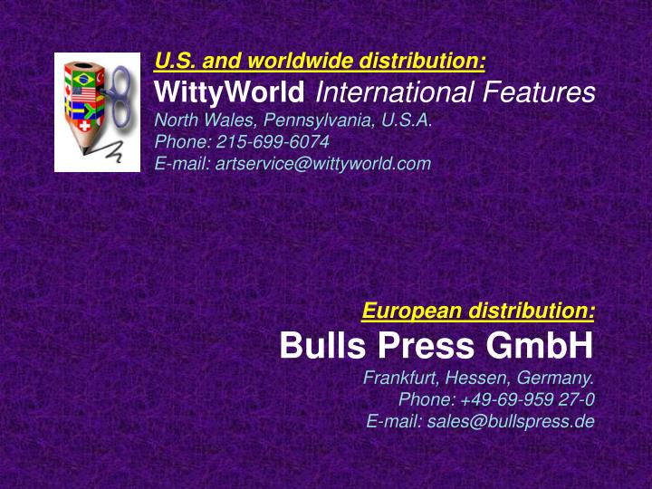 U.S. and worldwide distribution: