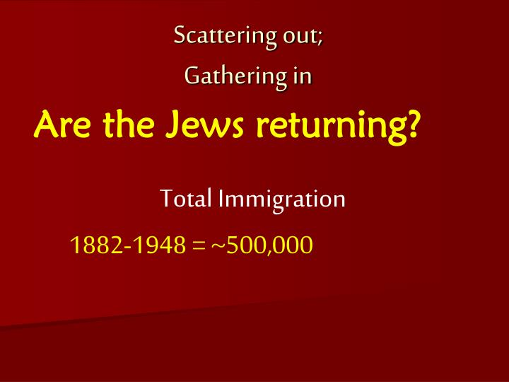 Are the Jews returning?