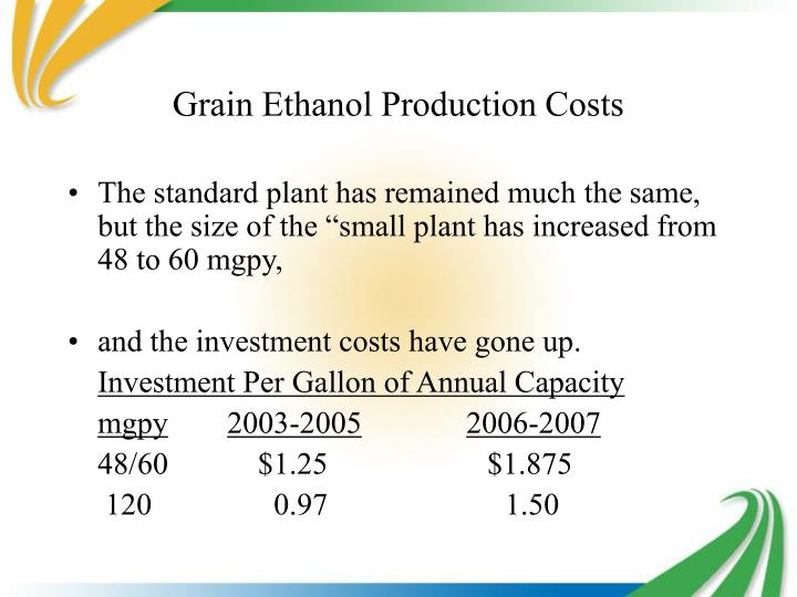 Grain Ethanol Production Costs