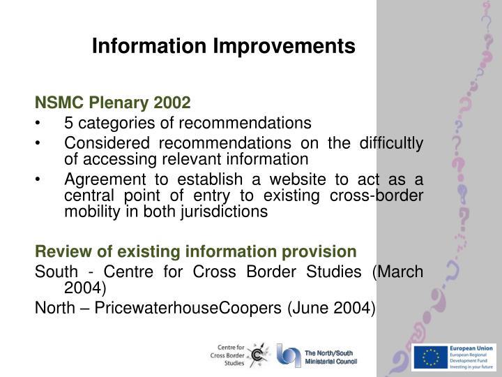 Information Improvements