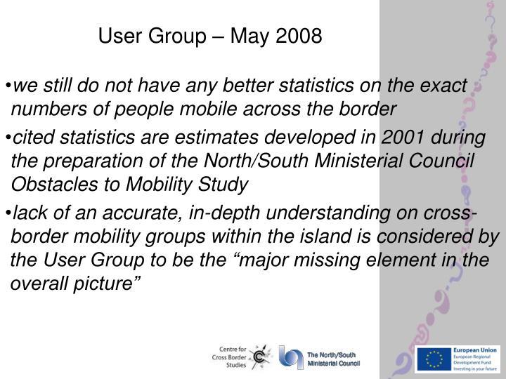 User Group – May 2008