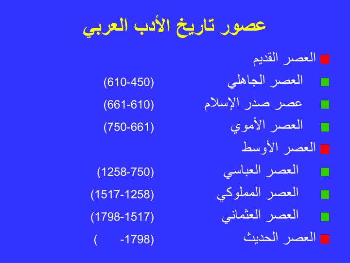 عصور تاريخ الأدب العربي