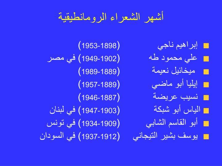 أشهر الشعراء الرومانطيقية