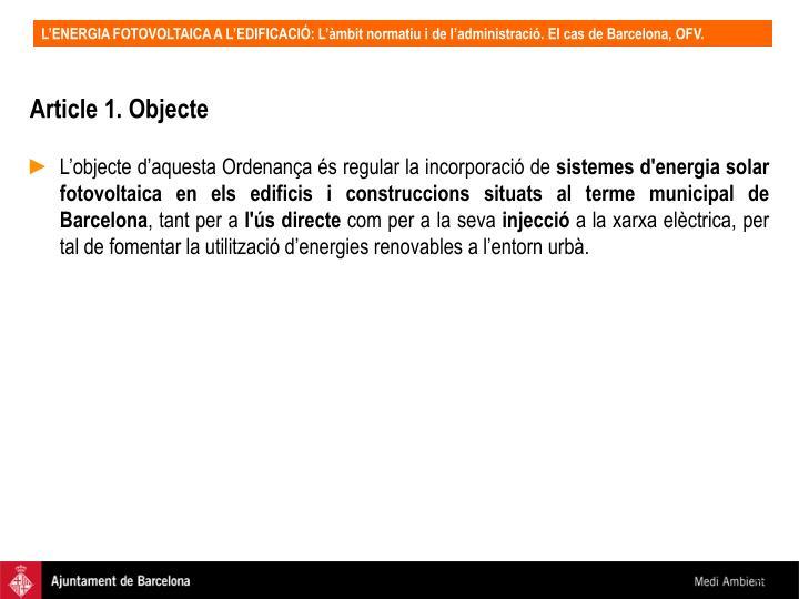 Article 1. Objecte