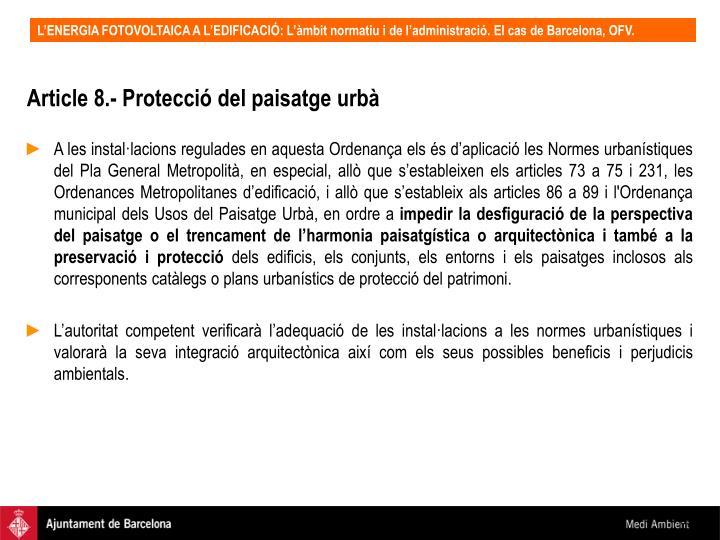 Article 8.- Protecció del paisatge urbà