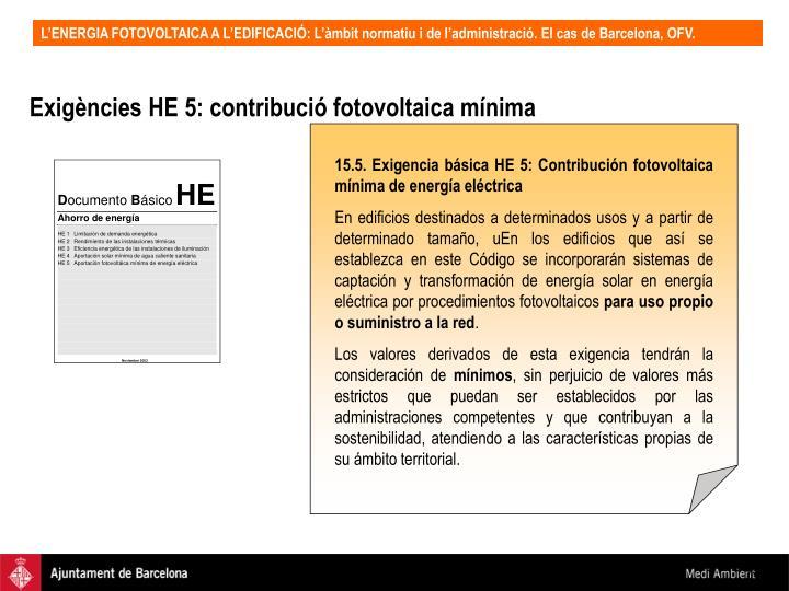 Exigències HE 5: contribució fotovoltaica mínima