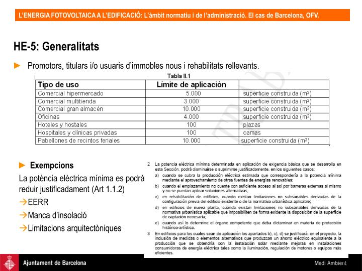 HE-5: Generalitats