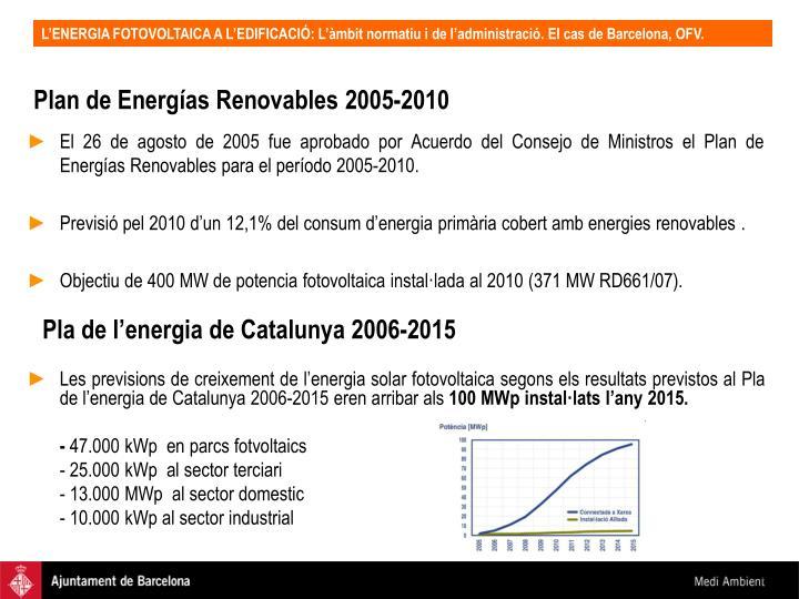 Plan de Energías Renovables 2005-2010