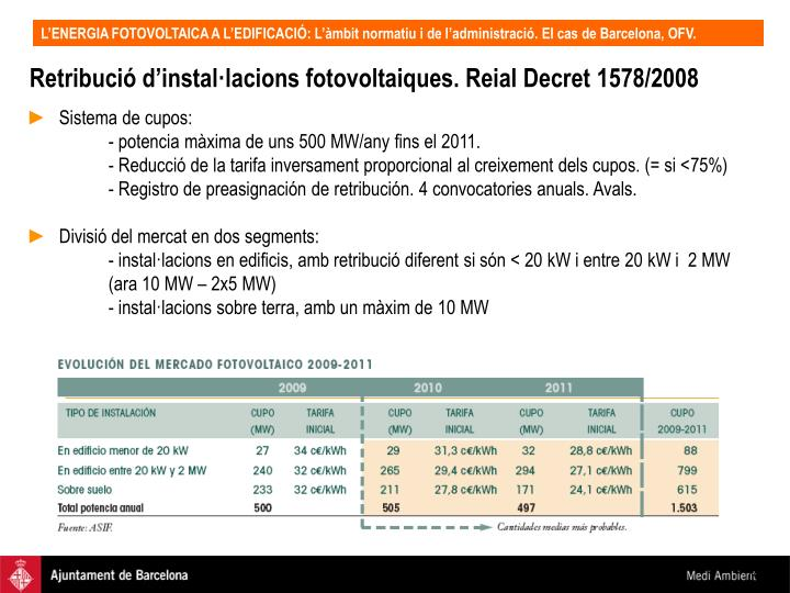 Retribució d'instal·lacions fotovoltaiques. Reial Decret 1578/2008