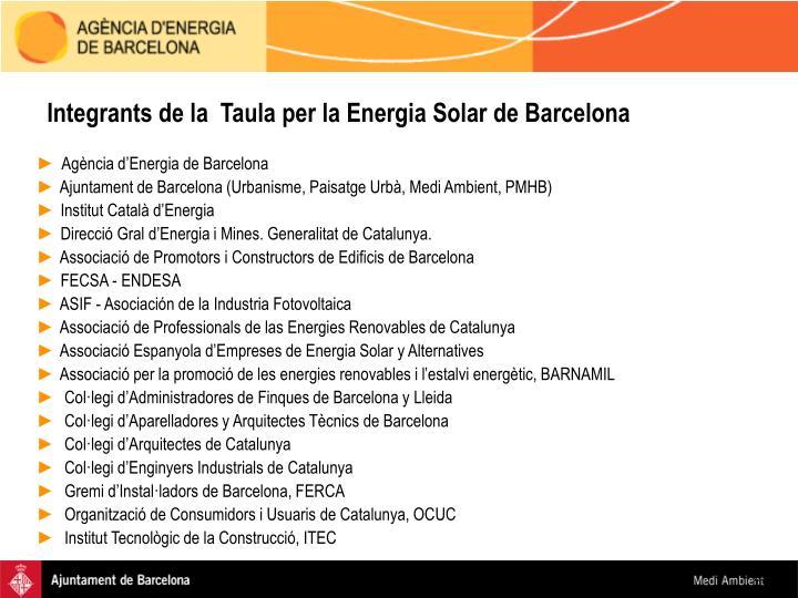Integrants de la  Taula per la Energia Solar de Barcelona