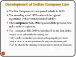 development of indian company law