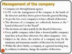 management of the company