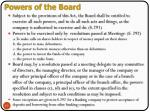 powers of the board