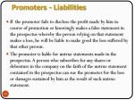 promoters liabilities