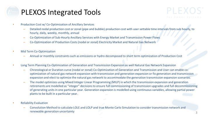Plexos integrated tools