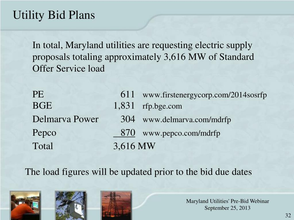 PPT - Maryland Utilities' Request For Proposals for Full