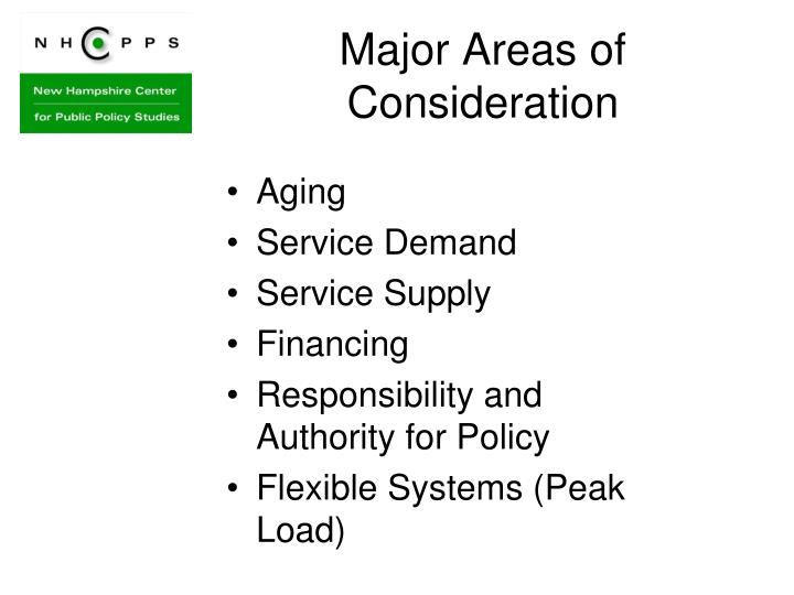 Major areas of consideration