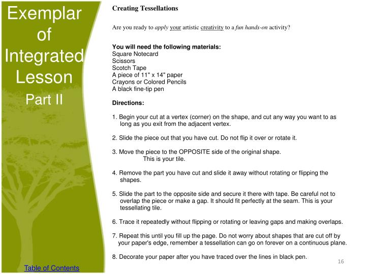 Exemplar of Integrated Lesson