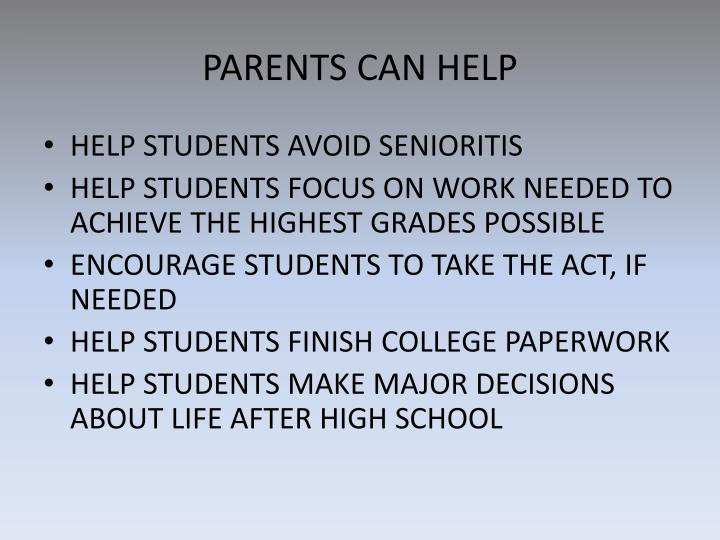 PARENTS CAN HELP