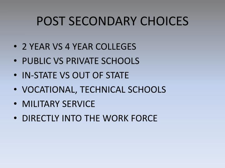 POST SECONDARY CHOICES