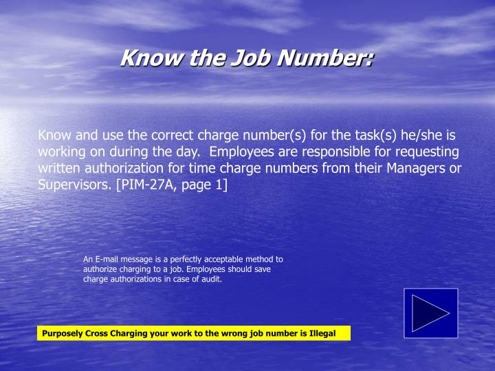 Know the Job Number: