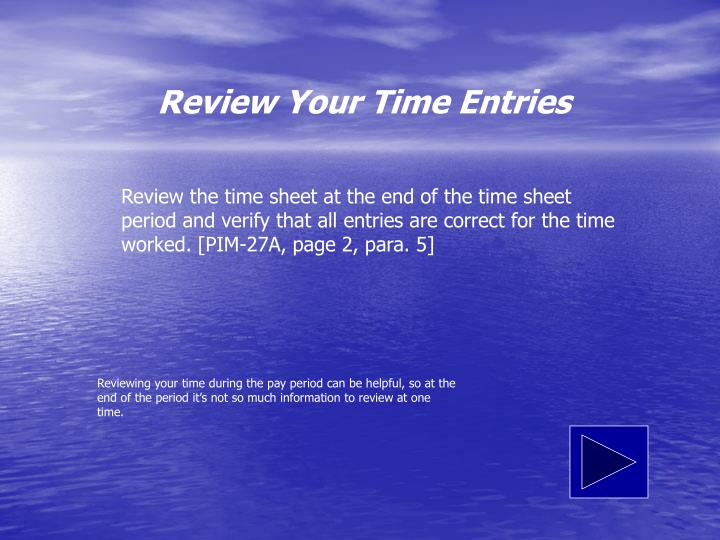 Review Your Time Entries
