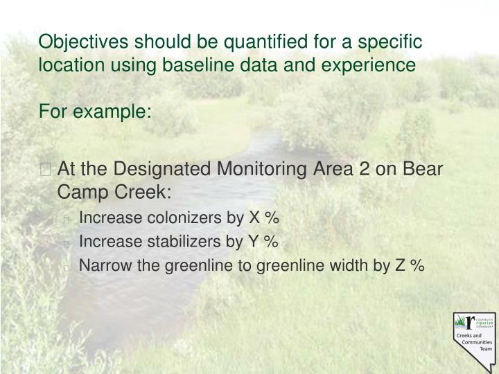 Objectives should be quantified for a specific location using baseline data and experience