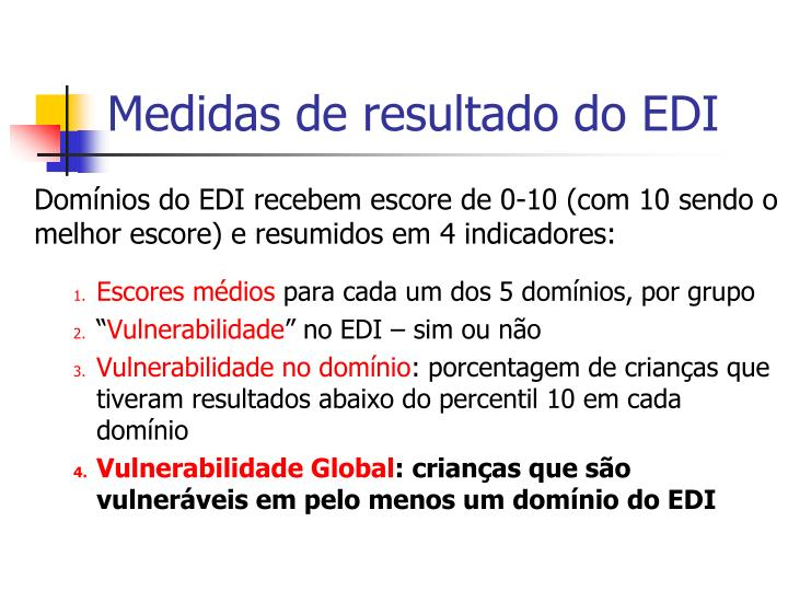 Medidas de resultado do EDI